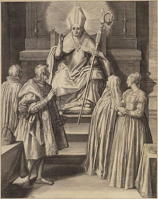 A figure in episcopal robes sits enthroned with a halo emanating from his head  by Flemish School