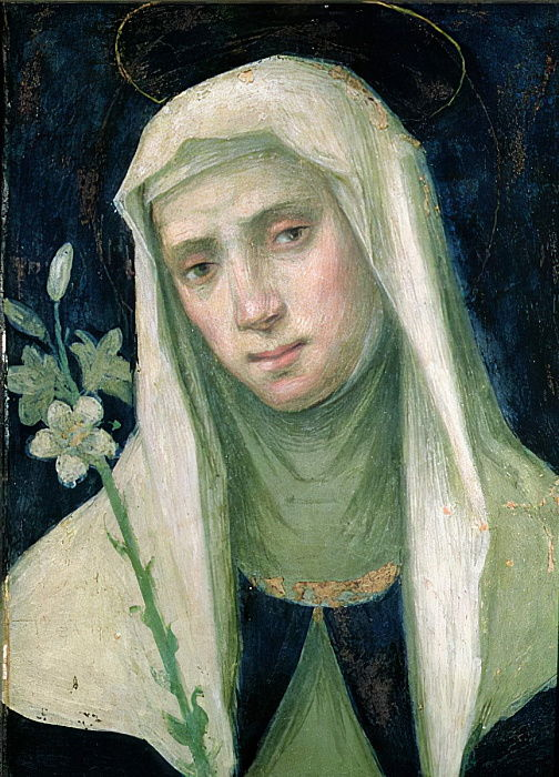 St. Catherine of Siena (1347-80) (tempera on panel) by Fra Bartolommeo