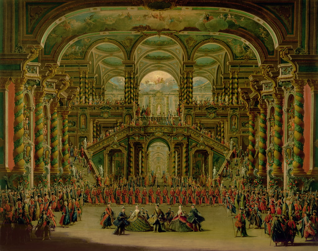 A Dance in a Baroque Rococo Palace  by Francesco Battaglioli