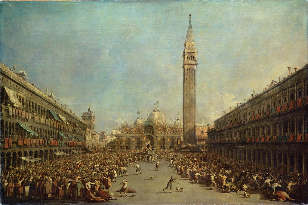 The Distribution of the Denarii to the Poor in San Marco, Venice  by Francesco Guardi