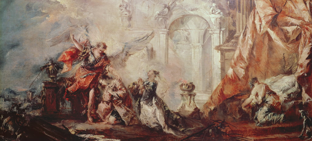The Marriage of Tobias, detail of the couple Sara and Tobias before Raphaels intermediary giving thanks to God, c.1750 oil on canvas by Francesco Guardi