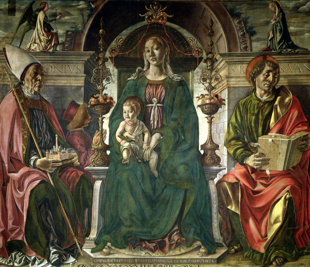 The Virgin and Saints, 1474 (oil) by Francesco del Cossa
