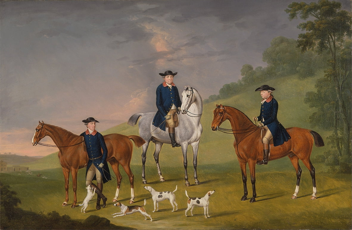 John Corbet, Sir Robert Leighton and John Kynaston with their Horses and Hounds by J. Francis Sartorius