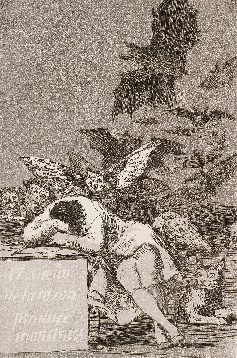 The sleep of reason produces monsters (No. 43), from Los Caprichos by Francisco de Goya