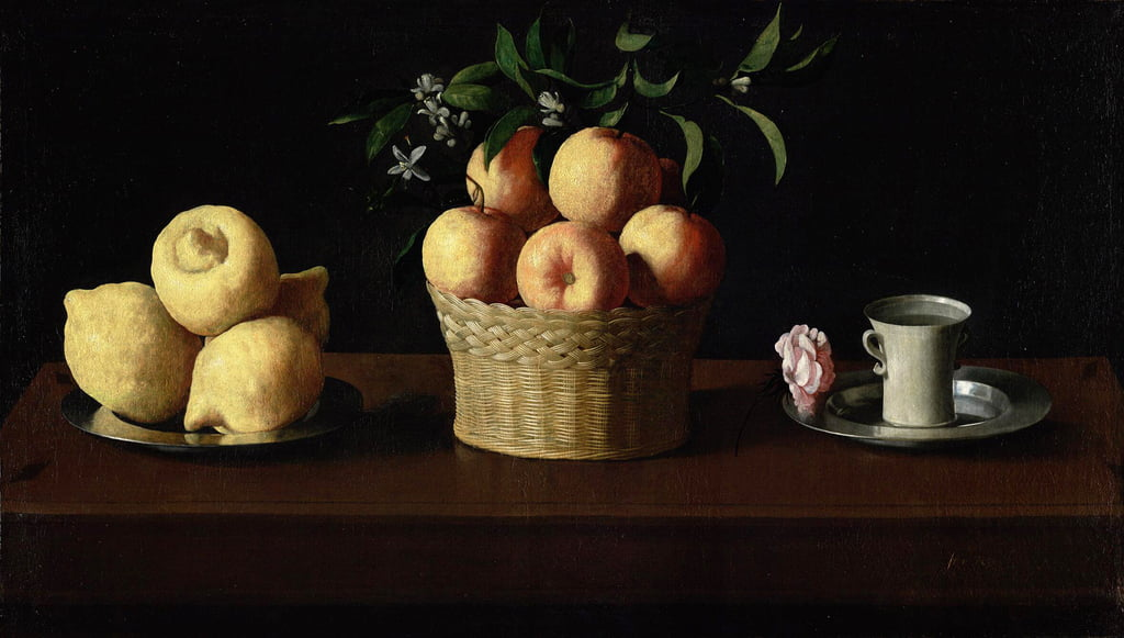 Still Life with Lemons, Oranges and a Rose by Francisco de Zurbaran