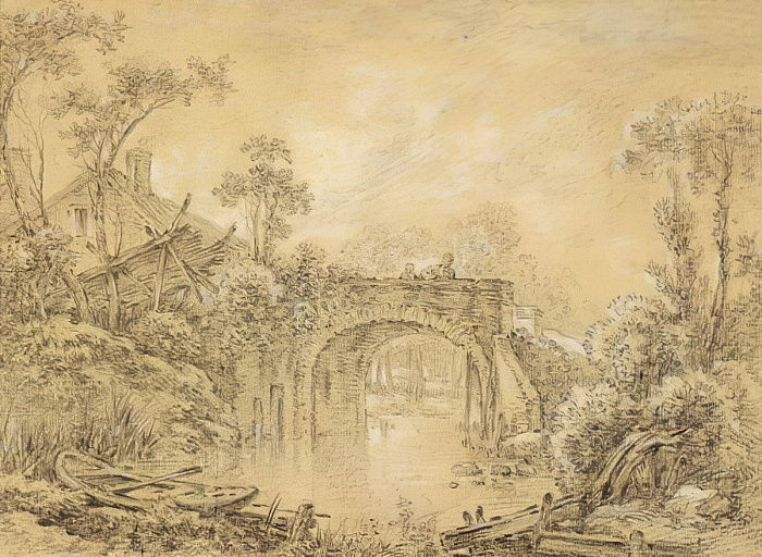 Landscape with a Rustic Bridge, c.1740 (black chalk heightened with white on cream laid paper) by François Boucher