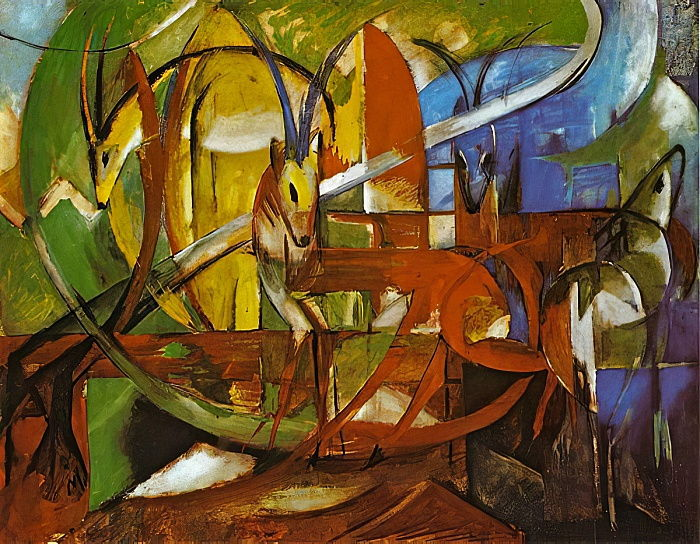 Gazelles, 1913 (tempera on board) by Franz Marc