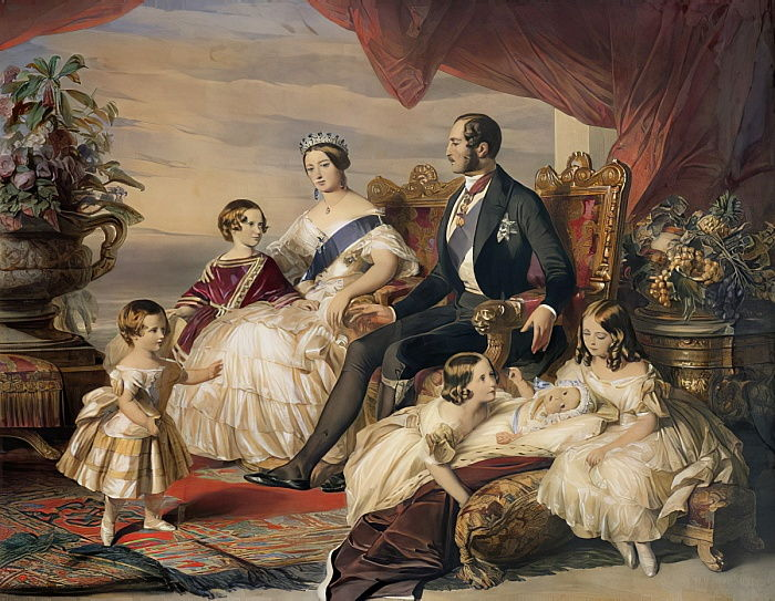 Queen Victoria (1819-1901) and Prince Albert (1819-61) with Five of the Their Children, 1846 (colour engraving) by Franz Xaver Winterhalter