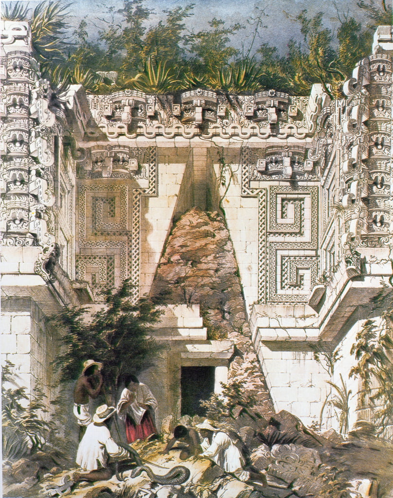 Palace of the Governors, Uxmal, Yucatan, Mexico, 1844 (coloured litho) by Frederick Catherwood
