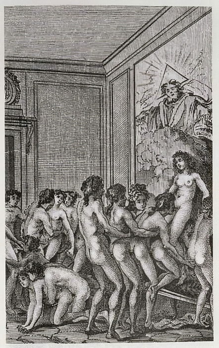 An Orgy, illustration from Histoire de Juliette by the Marquis de Sade, 1797  by French School