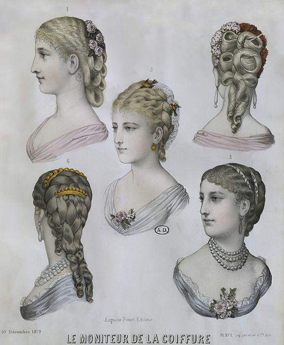 Hairstyles, illustration from Le Moniteur de la Coiffure, 10th December 1879 (colour engraving) by French School