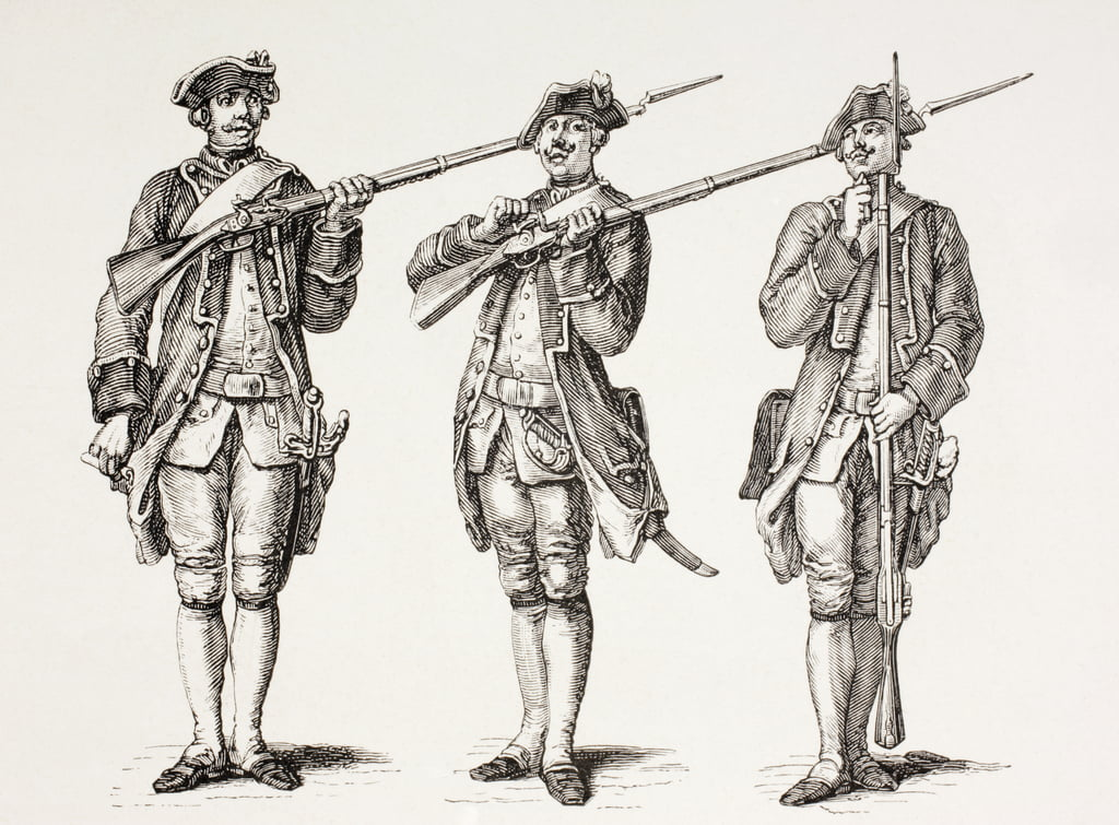 How to charge a musket, from a French instruction book of 1776, from