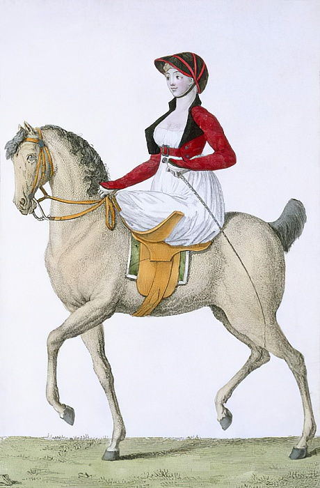 Lady riding sidesaddle, from Costumes Parisien, published in Journal des Dames et des Modes, 1798  by French School