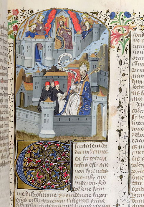 Ms Lat 592 f.127 Jerusalem and Babylon, from La Cite de Dieu by St. Augustine  by French School