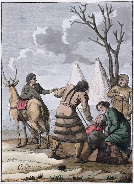 Samoyede Marriage, 1811 ( colour engraving) by French School