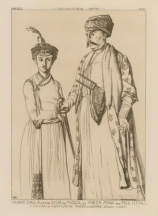 Soudiat Daula, Grand Vizier of the Mongols and his son, Mirza Mani (1774)  by French School