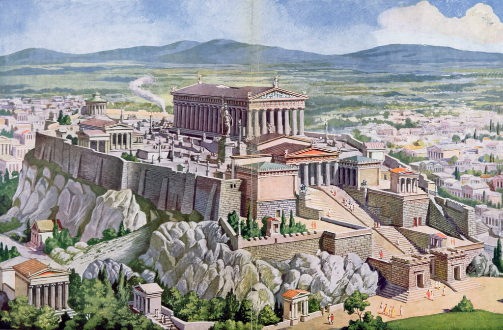 The Acropolis in Athens in Ancient Greece, 1914  by G. Rehlender