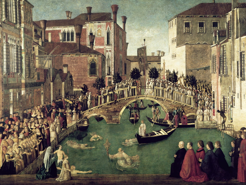 The Miracle of the Cross on San Lorenzo Bridge, 1500  (for detail see 61115) by Gentile Bellini