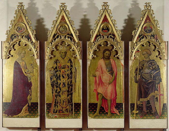 Four Saints from the Quaratesi Polyptych: Mary Magdalene, St. Nicholas, St. John the Baptist and St. George, 1425 (tempera on panel) (for detail see 85683 und 85684) by Gentile da Fabriano