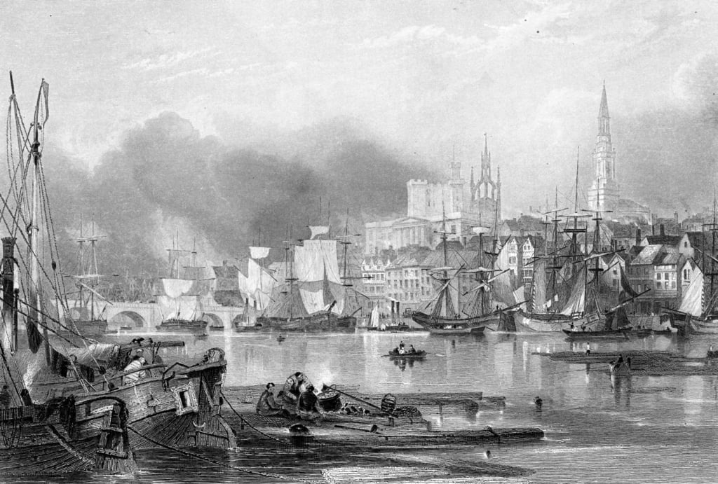 Newcastle-upon-Tyne, engraved by Edward Finden  by George Balmer