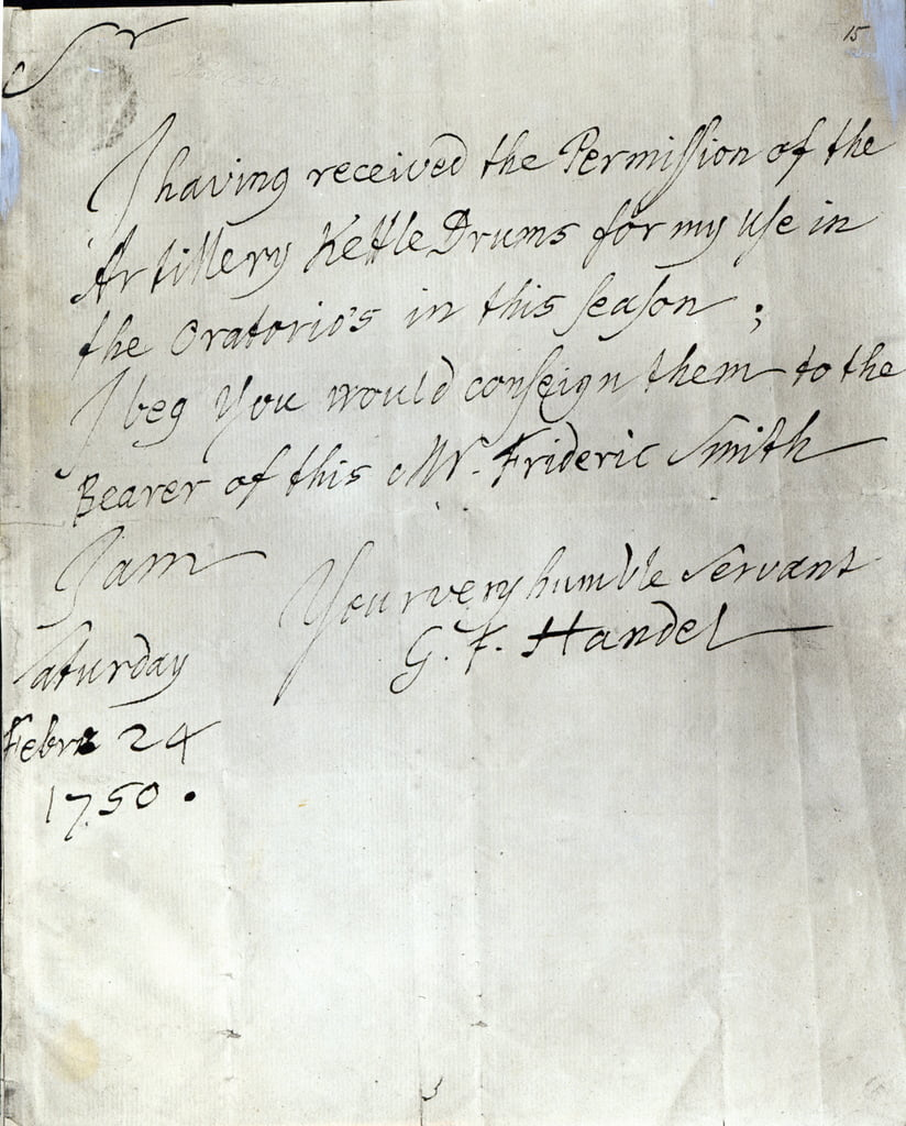 Letter from George Frederick Handel dated February 24th 1750   by George Frederick Handel