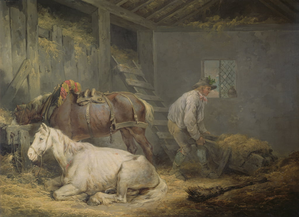 Horses in a Stable, 1791  by George Morland