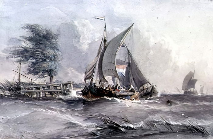A Windy Day: Boats in a Gale by George the Elder Chambers