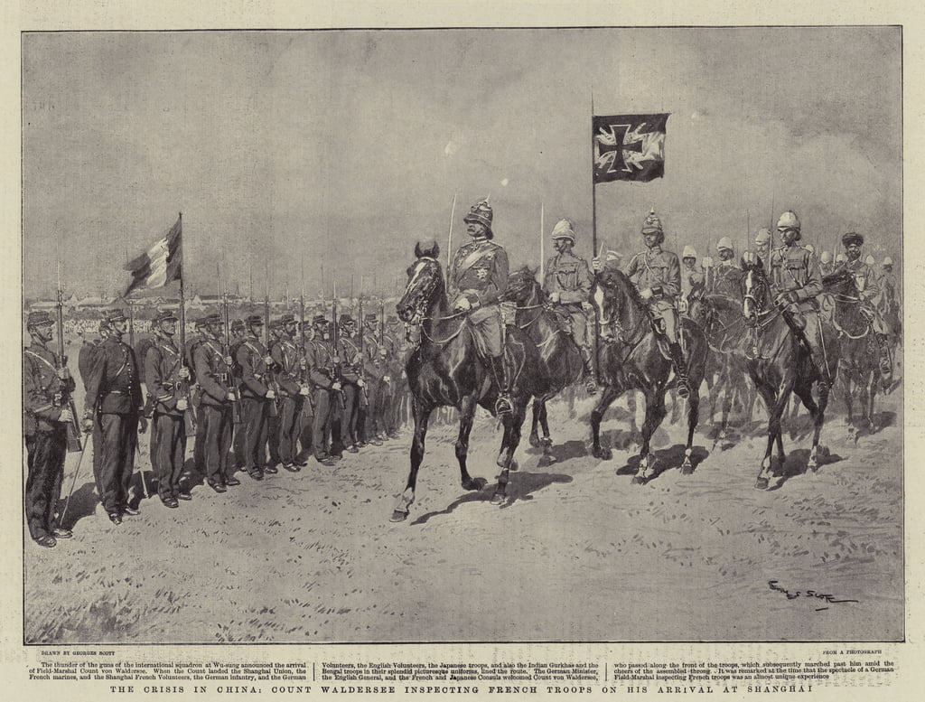 The Crisis in China, Count Waldersee inspecting French Troops on his Arrival at Shanghai  by Georges Bertin Scott