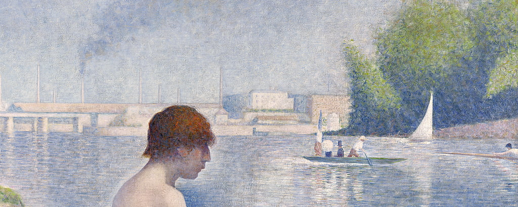 Bathers at Asnières, 1884 oil on canvas detail of 2136 by Georges Seurat