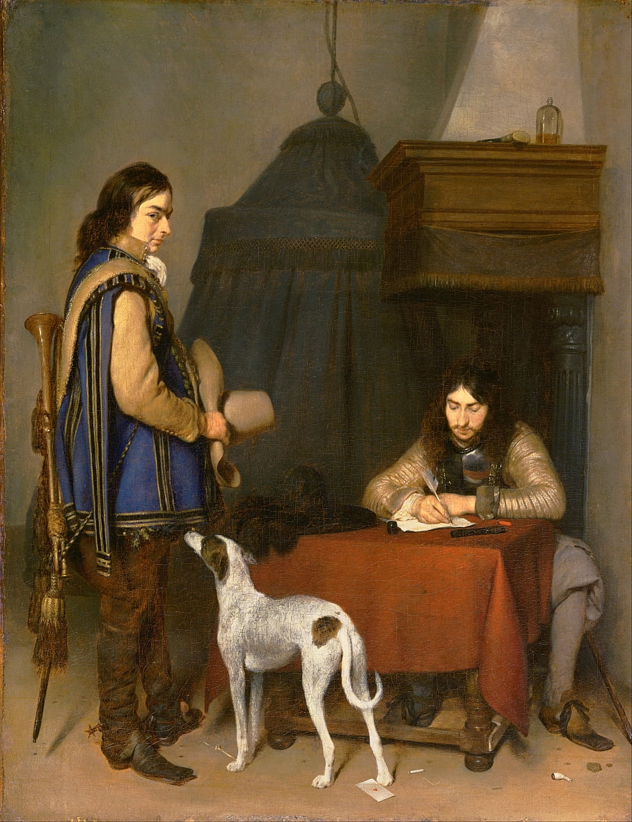 Officer Writing a Letter, with a Trumpeter by Gerard ter Borch or Terborch