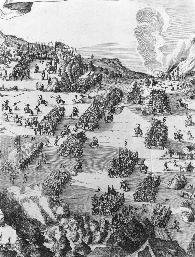 General view of the battle of Muhlberg, detail, 24th April 1547   (see also 217805) by German School