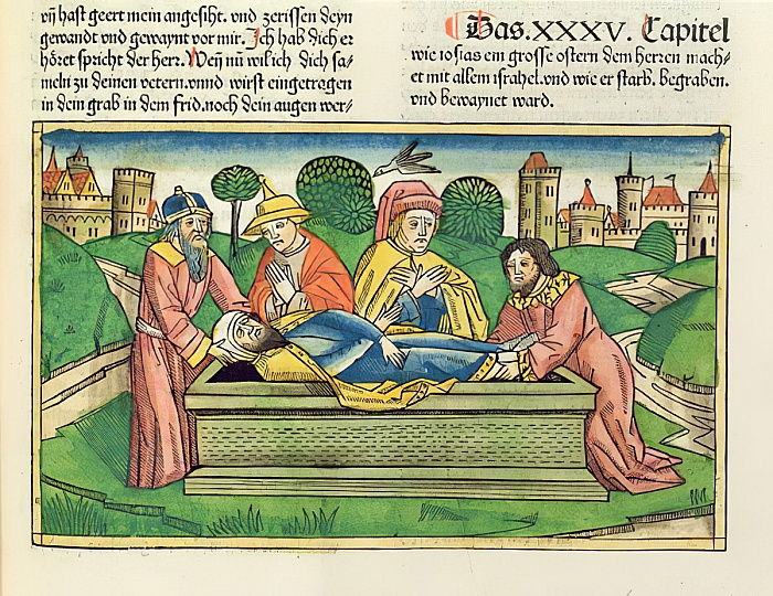 2 Chronicles 35 24 Burial of Josiah, from the Nuremberg Bible (Biblia Sacra Germanaica) (coloured woodcut) by German School