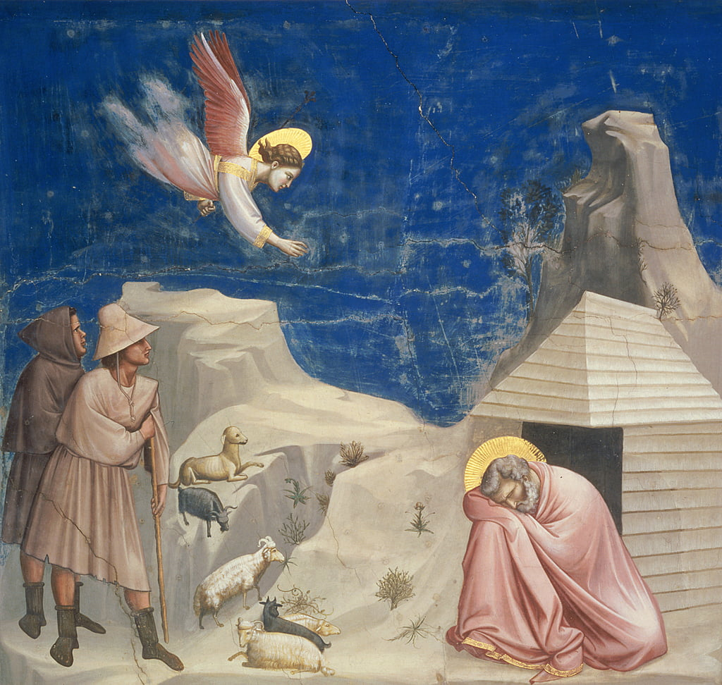 The Dream of Joachim, c.1305  by Giotto di Bondone