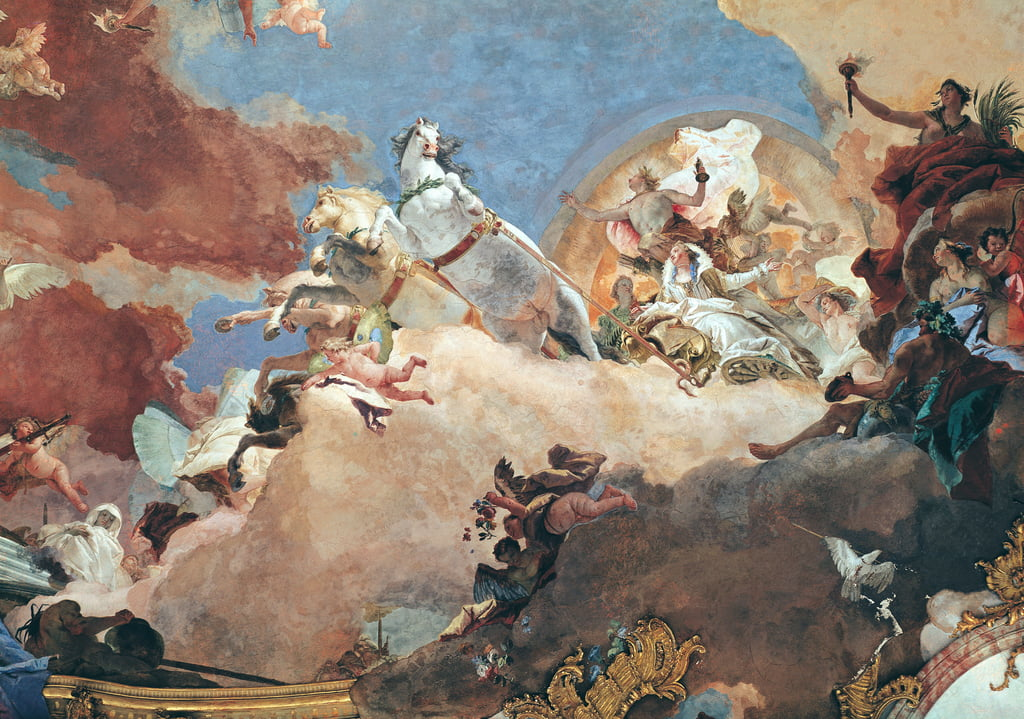 Apollo in his Sun Chariot driving Beatrice I (1145-84) to Frederick I Barbarossa (1122-90) detail from the ceiling of the Imperial Room (fresco) by Giovanni Battista Tiepolo