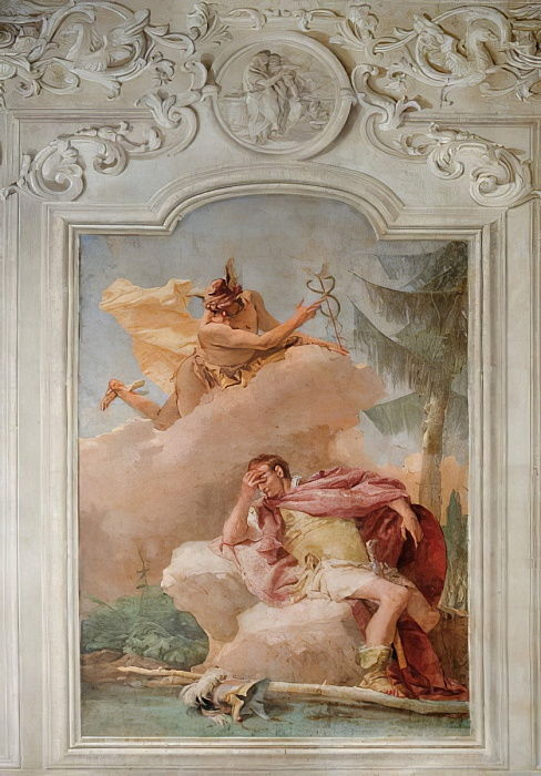 Mercury Exhorting Aeneas to Leave Carthage, from the Room of the Aeneid in the Palazzina, 1757  by Giovanni Battista Tiepolo