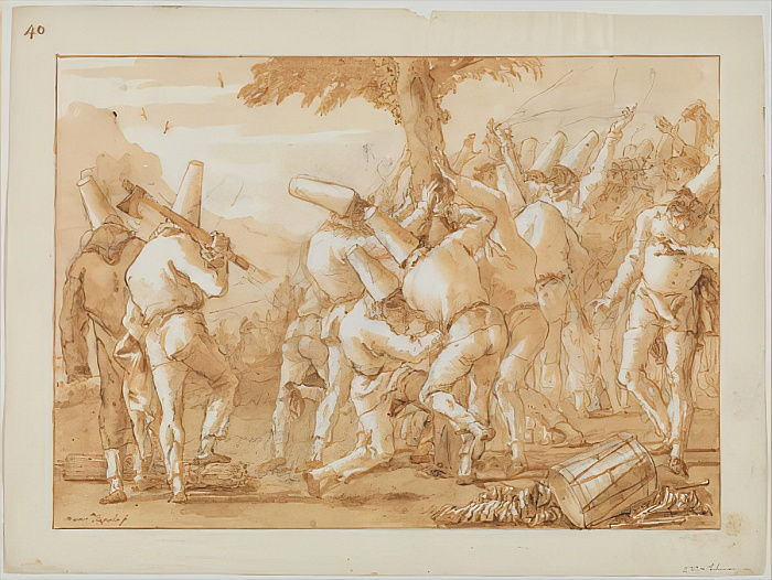 Punchinellos Felling (or Planting) a Tree, c.1800  by Giovanni Battista Tiepolo