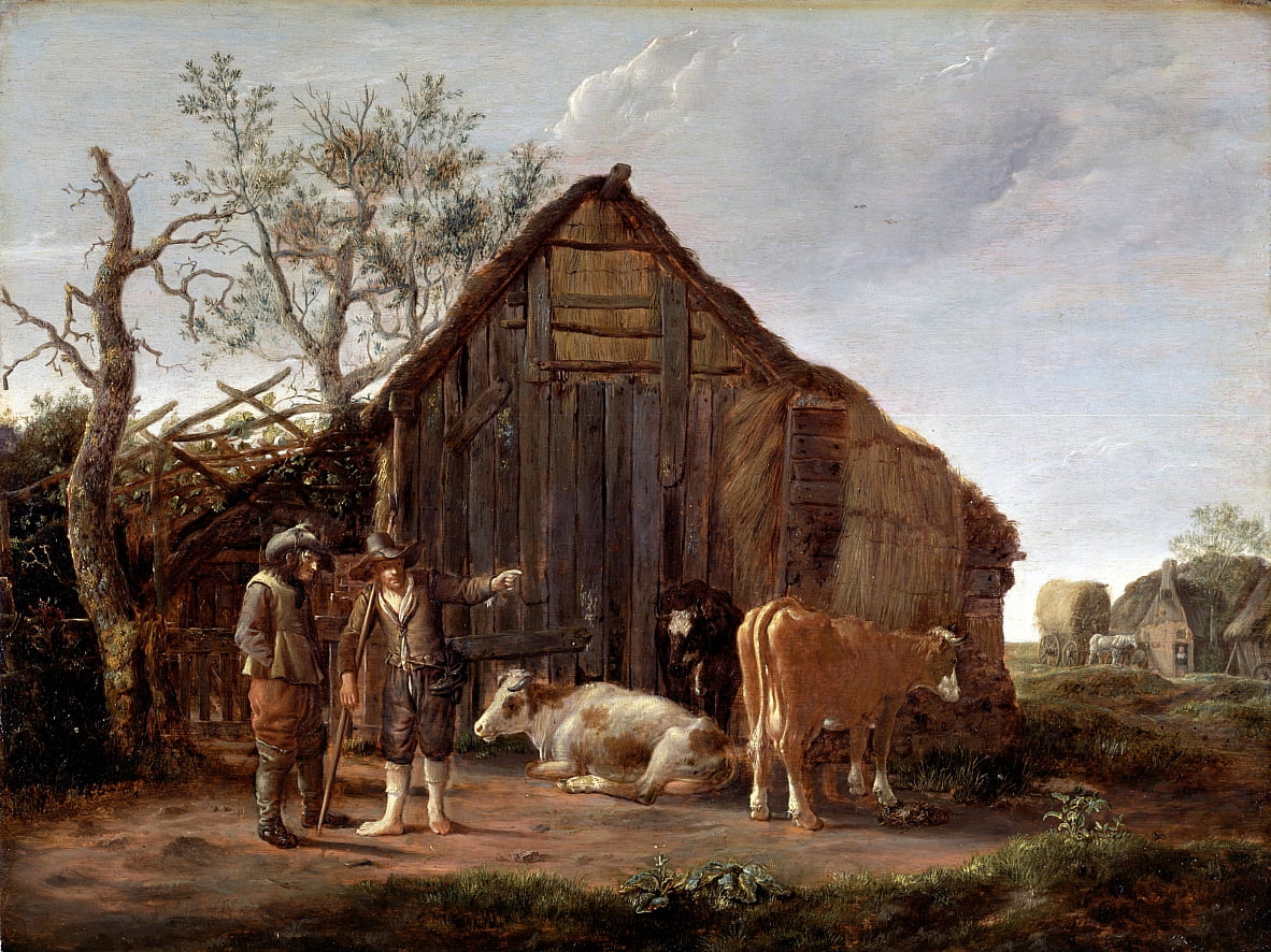 Two Peasants with Cows by Govaert Camphuysen