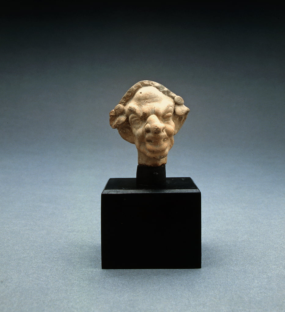 Grotesque head of a woman, 100 BC-100 AD (terracotta) (see also 213319) by Greek