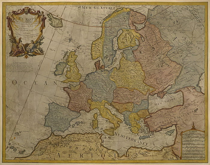 Map of Europe, published in 1700, Paris (colour engraving) by Guillaume Delisle