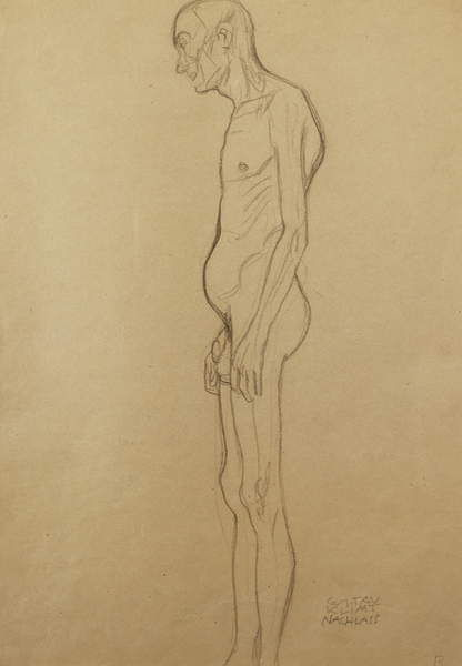 Nude Man; Nackter Man Nach Links, by Gustav Klimt
