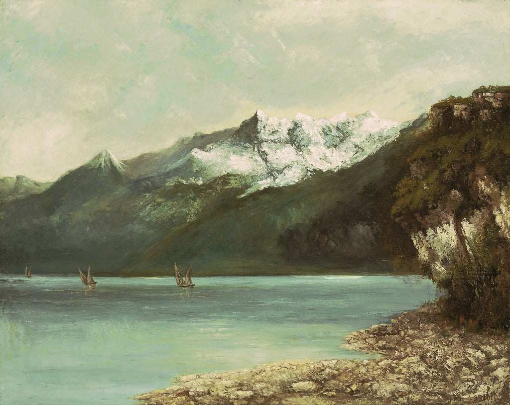 Lake Geneva and the Dents du Midi, 1877  by Gustave Courbet
