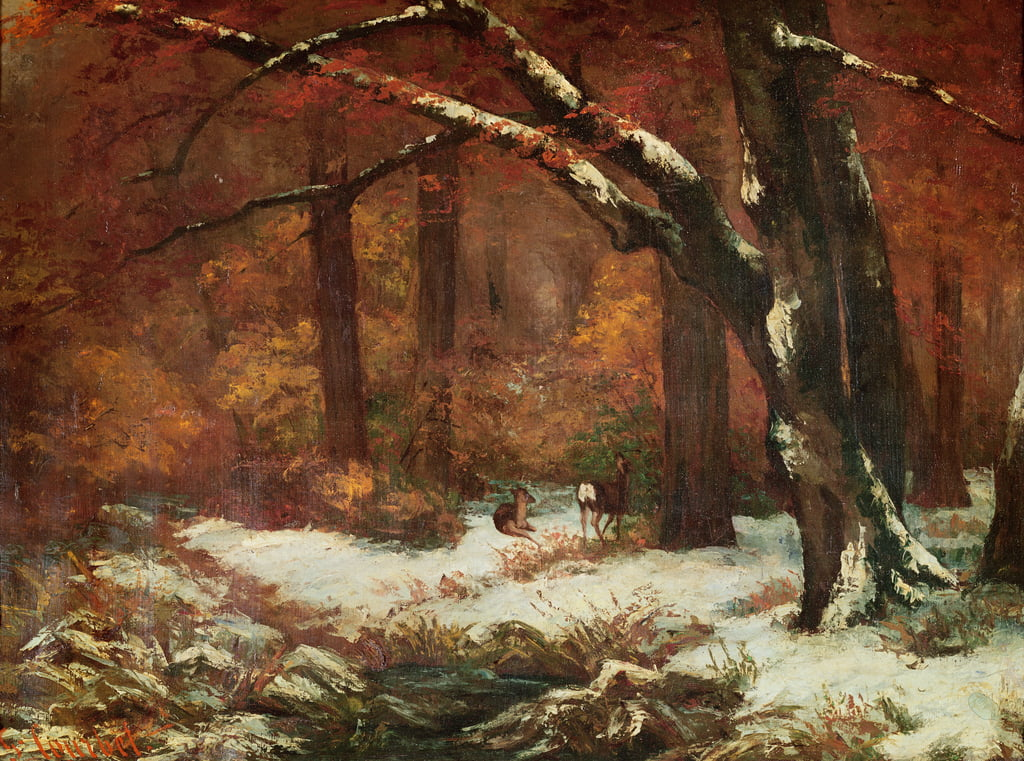 The Deer Retreating  by Gustave Courbet