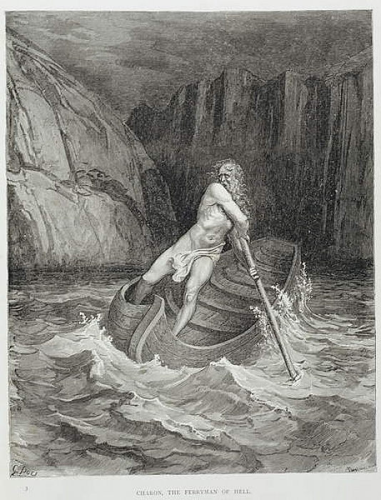 Charon, the Ferryman of Hell, from The Divine Comedy (Inferno) by Dante Alighieri (1265-1321) engraved by Stephane Pannemaker (1847-1930) c.1868  by Gustave Dore