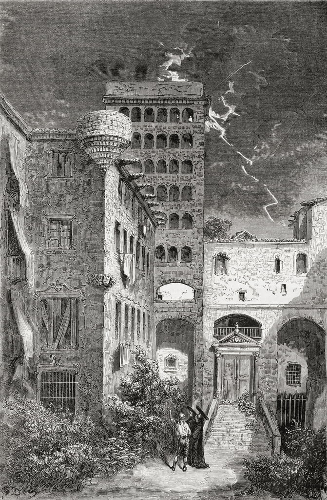 El Palacio de la Inquisicion in the 19th century, 1878 (wood engraving) by Gustave Dore