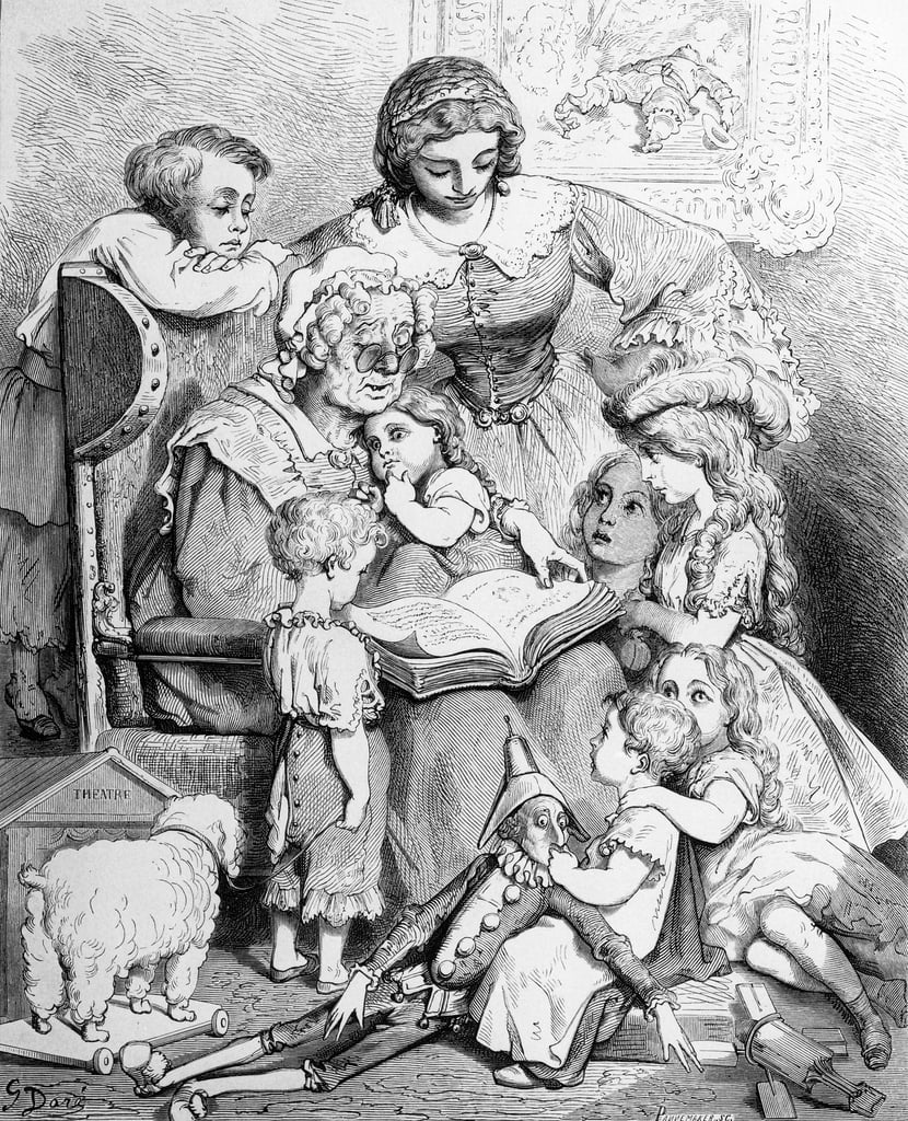 Grandmother telling a story to her grandchildren, illustrated title page from