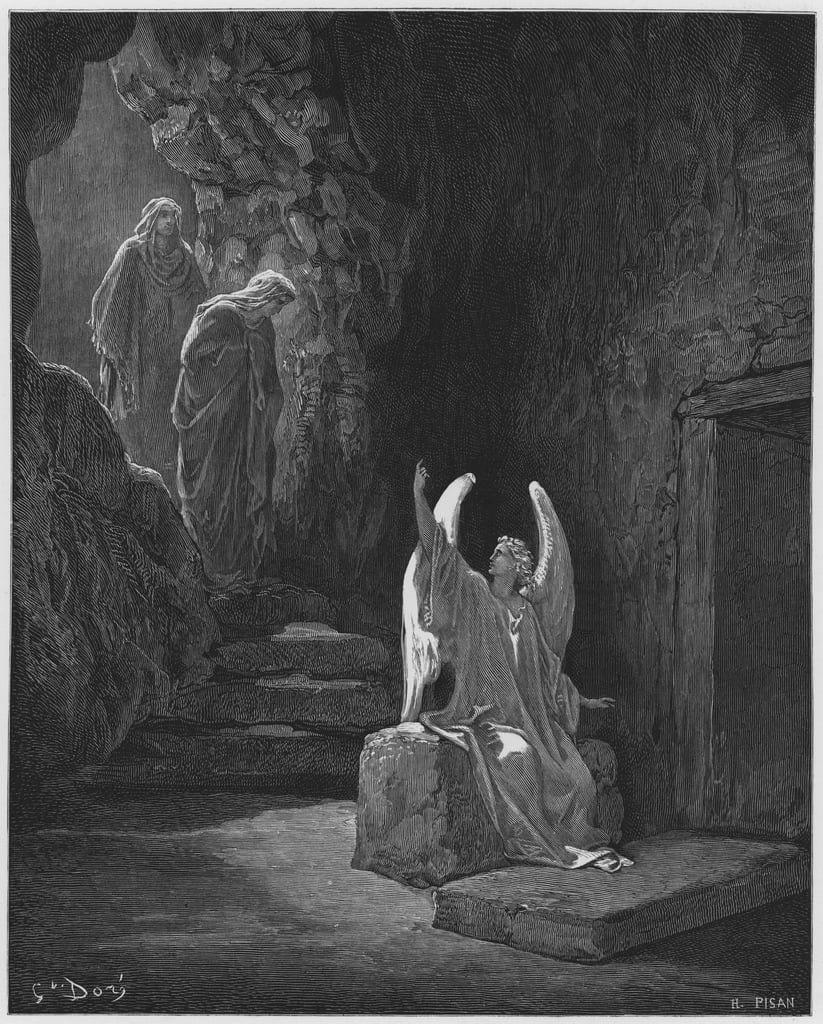 Gustave Dore Bible: The Angel at the door of the sepulchre  by Gustave Dore