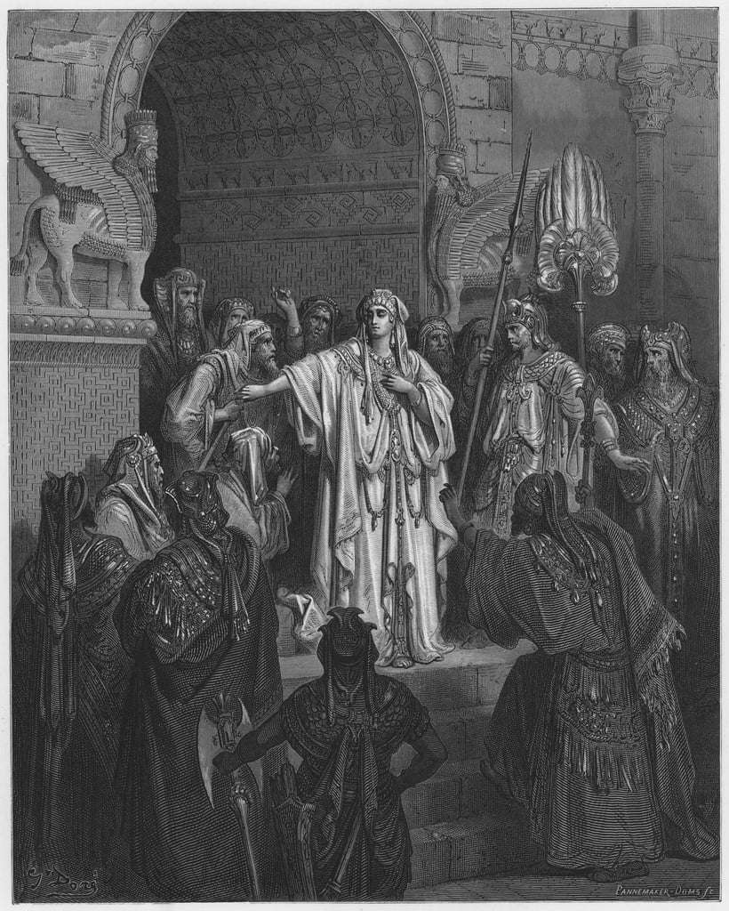 Gustave Dore Bible: The Queen Vashti refusing to obey the command of Ahasuerus  by Gustave Dore