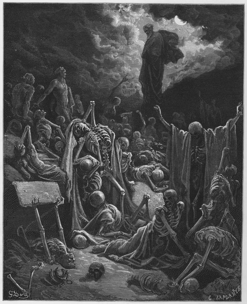 Gustave Dore Bible: The vision of the valley of dry bones  by Gustave Dore