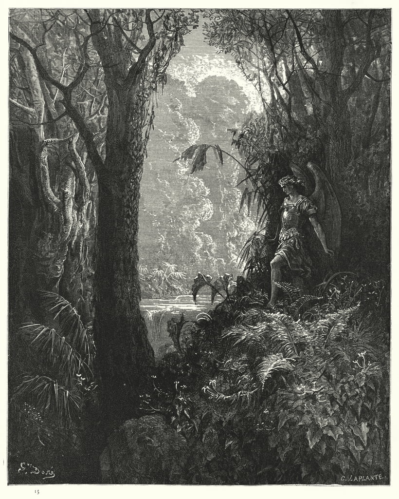 Illustration by Gustave Dore for Miltons Paradise Lost, Book IV, line 247  by Gustave Dore