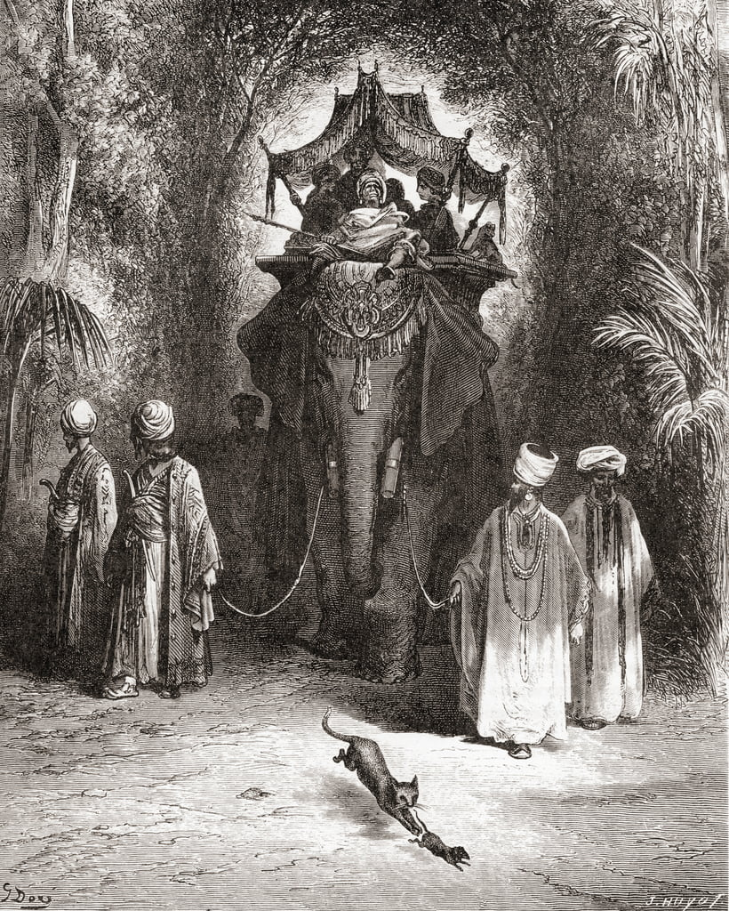 The Rat and the Elephant, from a late 19th century edition of Fables de La Fontaine (wood engraving) by Gustave Dore